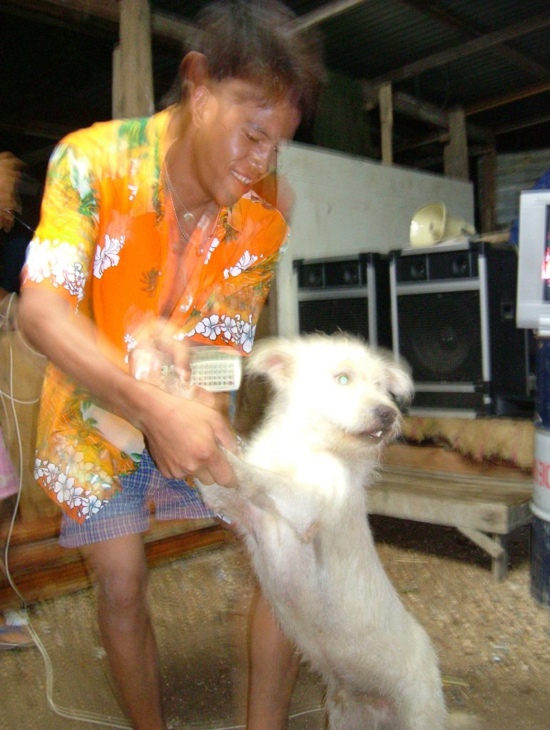 Drunk dancing with dog for Thai New Year