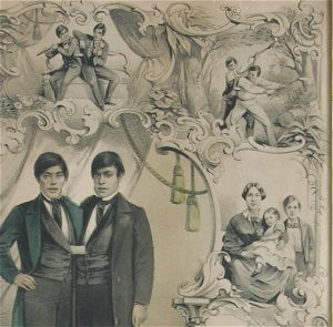 Lithograph of Siamese twins