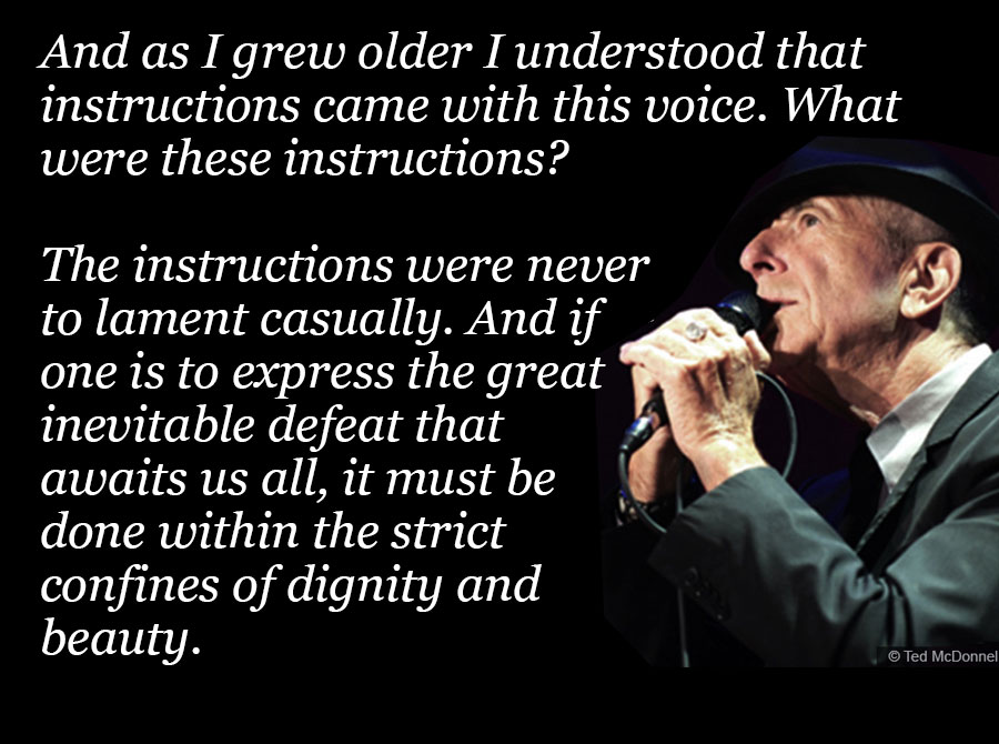 Photo of Leonard Cohen with quote