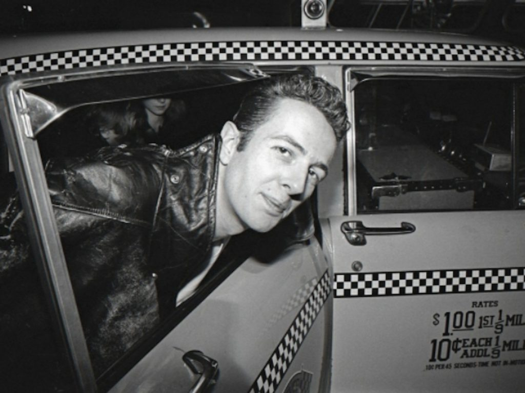 Joe Strummer in a taxi cab in New York