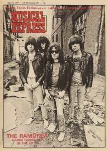Vintage magazine cover showing Joey Ramone and the rest of the band
