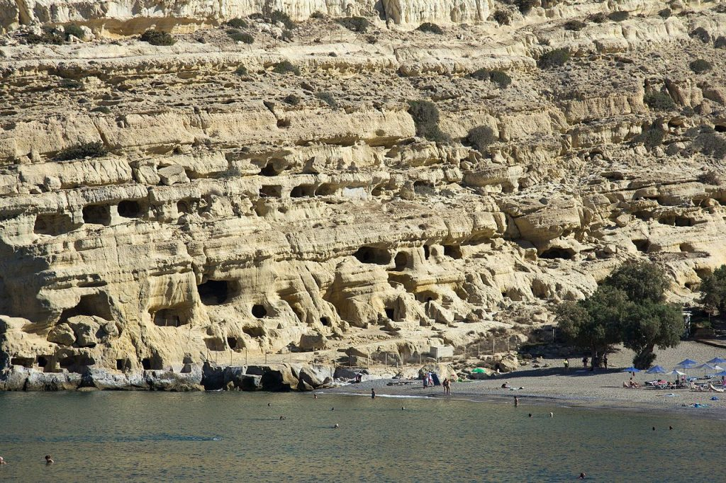 Caves in Matala Crete where Bangkok 8 author once camped out.