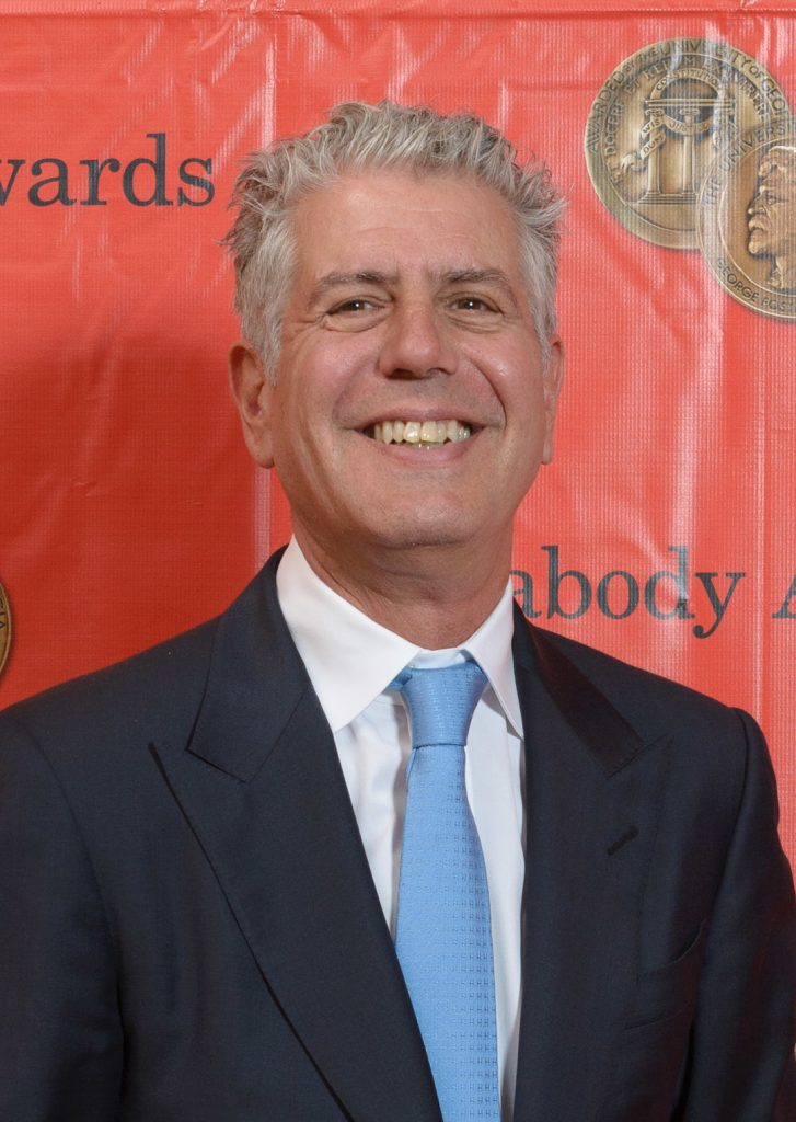 A smiling Anthony Bourdain attends an awards show