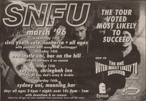 Tour poster for SNFU
